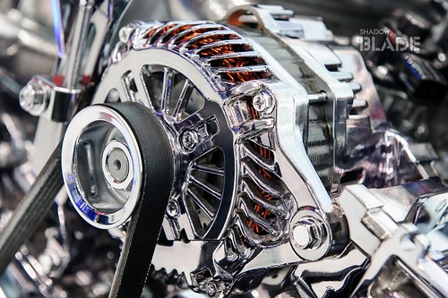 Car engine, concept of modern automobile motor with metal, chrome, plastic parts, heavy industry
