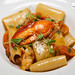 """Cavalier Cocco"" paccheri pasta with Maine lobster, cherry tomatoes, basil"