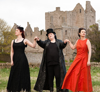 The Cast of Edinburgh People's Theatre's production of Mary Queen of Scots got her Head Chopped Off on a publicity shoot at Craigmiller Castle, Edinburgh. LR:  Lynne Hurst (Mary), Mags Swan (La Corbie) and Lynn Cameron (Elizabeth), Photo © Robert Fuller.