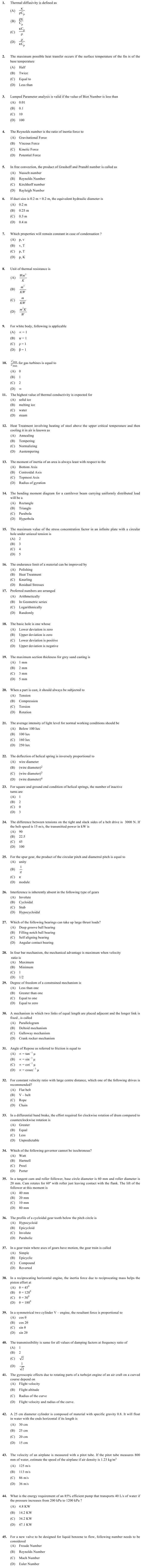 OJEE 2013 Question Paper for PGAT Mechanical