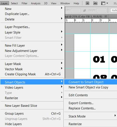 Создание календарной сетки в Фотошоп