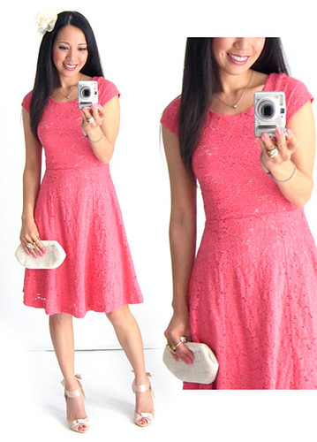 Beauties Closet Coral Lace Dress