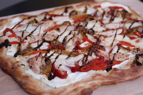 White Pizza with Roast Chicken, Tomato, and Red Pepper and Balsamic Glaze