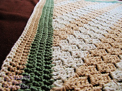 Close-up of the green, beige and white blanket edging.