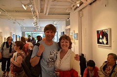 Marion Webber and friend at Kimoto Gallery for ArtWalk South Granville