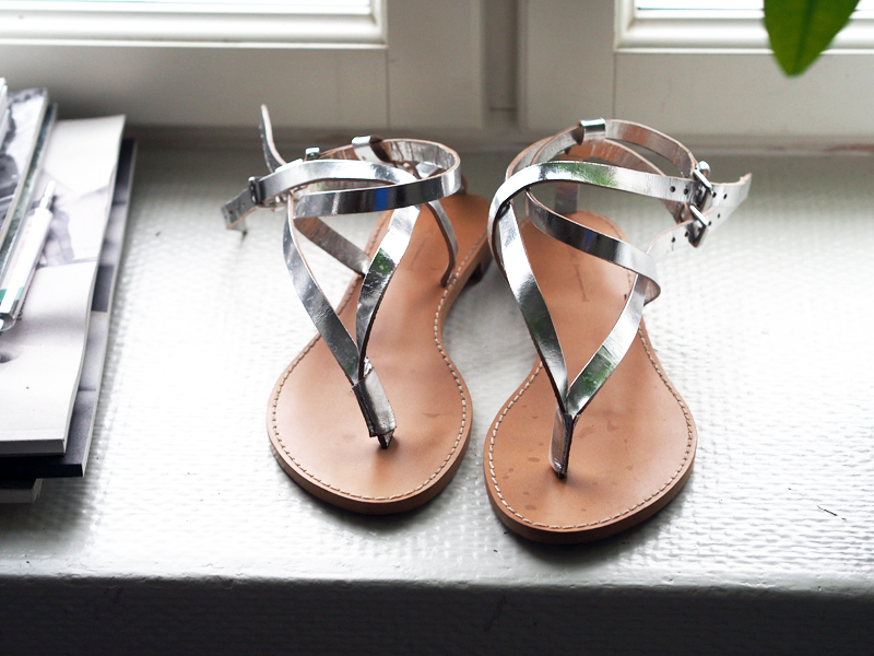 zara silver sandals leather