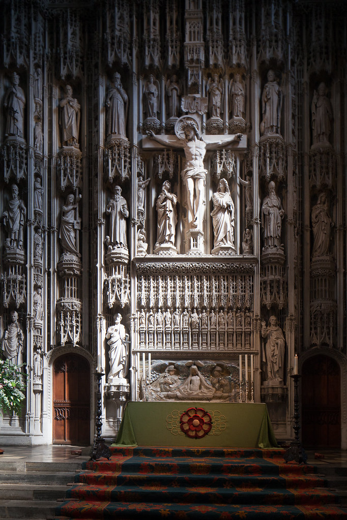 The reredos caught in the light at St. Albans Abbey