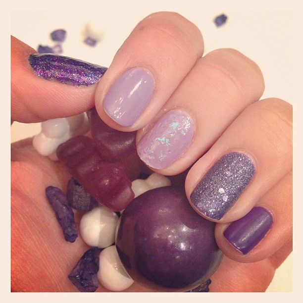 My purple mixed-textures manicure matches the @jossandmain candy! #altsf #notd #nailpolish #manicure #nailsofig #instamani #nailart #showusyourtips #beauty #nailpolishobsessed #opi #illamasqua #revlon #squarehue