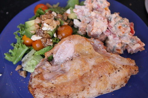 Pan Roasted Chicken Breast with Marcona Feta Salad and Cilantro Lime Sweet Potato Salad