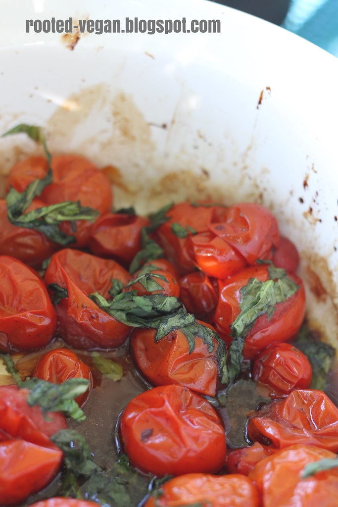 roasted basil tomatoes by rooted-vegan.blogspot.com