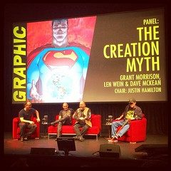 Justin Hamilton, Grant Morrison, Dave McKean and Len Wein at The Creation Myth panel GRAPHIC