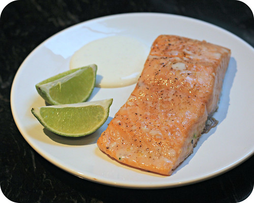 Slow Baked Salmon with Lime Cream