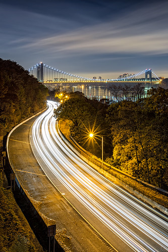 city nyc newyorkcity longexposure travel bridge newyork motion metal architecture night print photography photo scenery gallery cityscape unitedstates image manhattan fineart scenic picture canvas license gwb georgewashingtonbridge forttryonpark traffictrails mikeorso