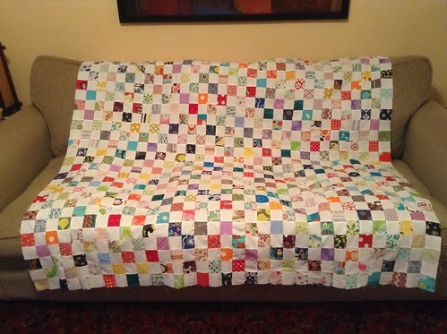 Checkerboard scrappy quilt top