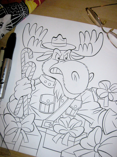 "TEENAGE MUTANT NINJA TURTLES :: ""MERRY CHRISTMOOSE"" .. pencils by Bruce Hatten, inks by Ryan Brown - inking iii (( 2013 ))"