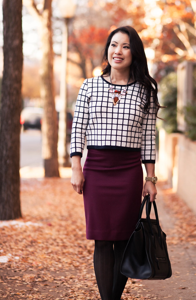 cute & little blog | windowpane checkered grid sweater, burgundy pencil skirt, jewelmint statement necklace outfit