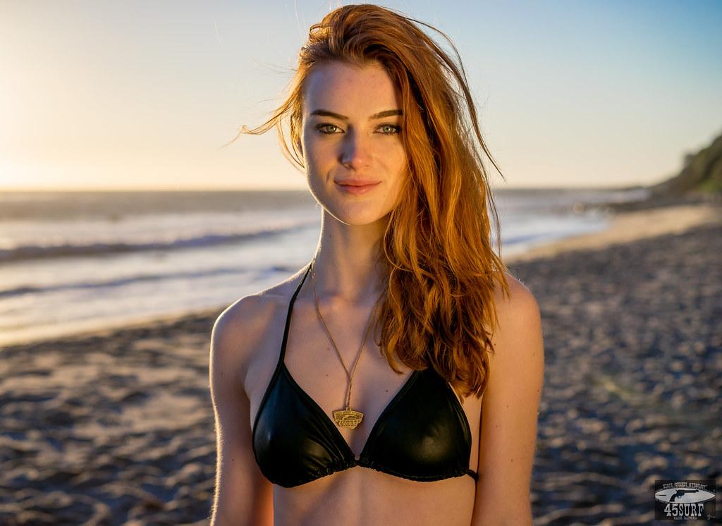 Red head bikini models
