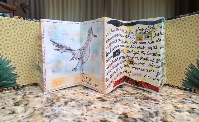 Bookmaking - Accordion Book featuring Greater Roadrunner