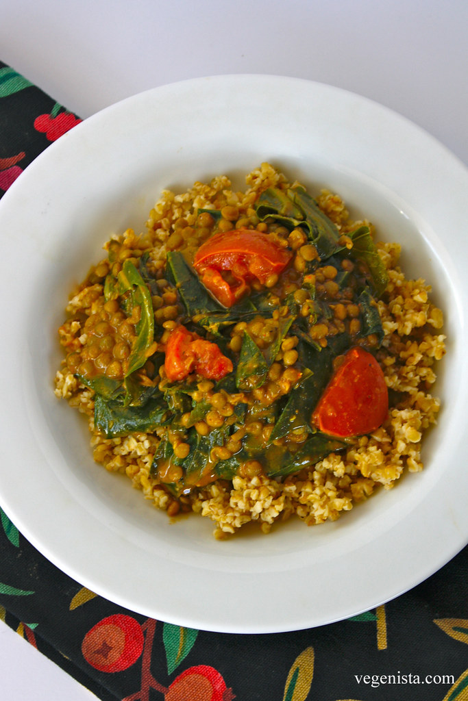 Freekeh with Coconut Curry Lentils & Collard Greens