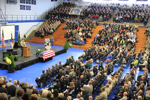 Thousands packed into the McDowell County High School to pay tribute to Forest Service Law Enforcement Officer Jason Crisp and his K-9 partner Maros. (Courtesy of Mario Rossilli)