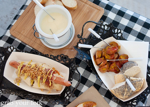German hot dog, Swiss fondue and currywurst Berlin-style at Brot and Wurst, North Narrabeen