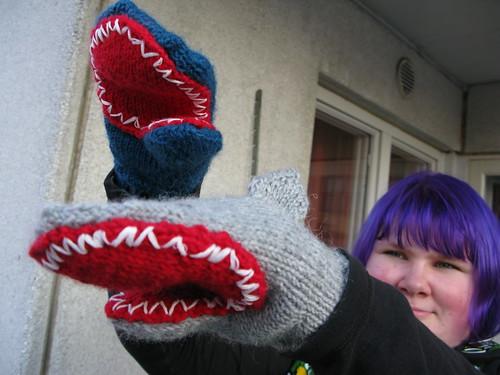 Shark mittens