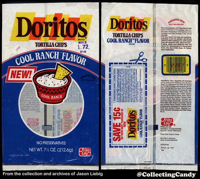 Frito Lay - Doritos Cool Ranch - NEW - 7 1/2 oz tortilla chip snack bag package - 1985