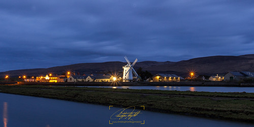 windmill tralee blue hour long exposure lights landscape water cityscape sky
