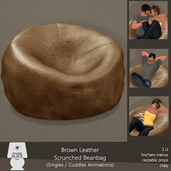 [Park Place] Brown Leather Scrunched Beanbag