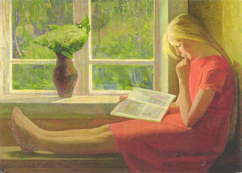 Girl Reading by Window