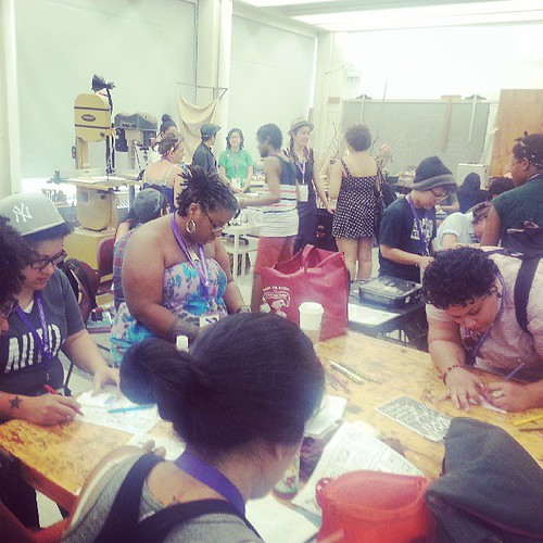 June 21, 2013: Folks making zines at our #amc2013 #makezines session