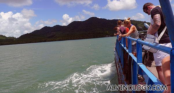 Riding on a barge towards Ko Lanta