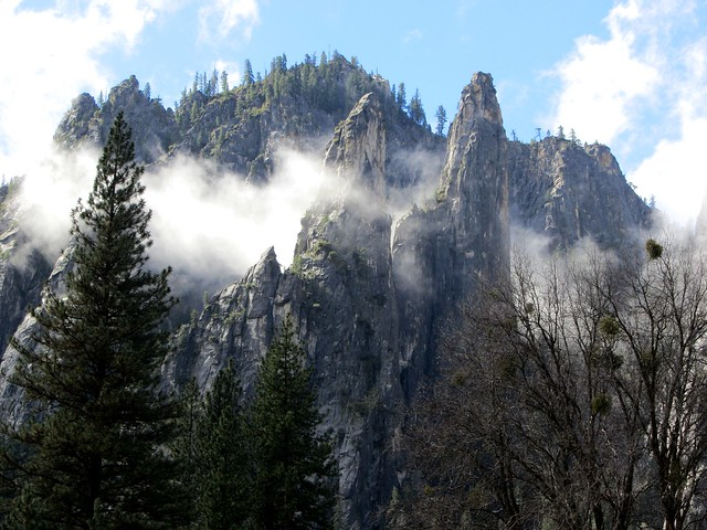 Yosemite's Cathedral Spires In the Mist
