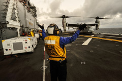 An Aviation Boatswain's Mate (Handling) directs an MV–22 Osprey during flight operations aboard USS Boxer (LHD 4) during certification training in July in preparation for deployment. (U.S. Navy photo by Mass Communication Specialist 3rd Class Brian Jeffries)