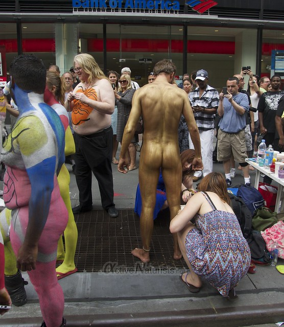 naturist 0003 body paint art, Times Square, New York, NY, USA