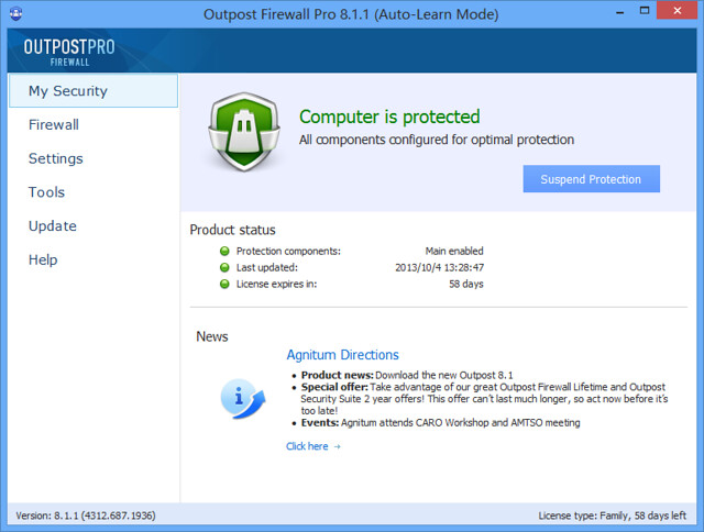 Outpost Firewall Pro 8.1.1