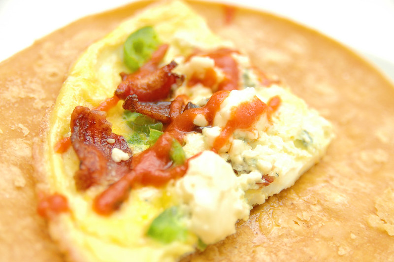 recipe: bacon, blue cheese and jalapeno breakfast tortillas.