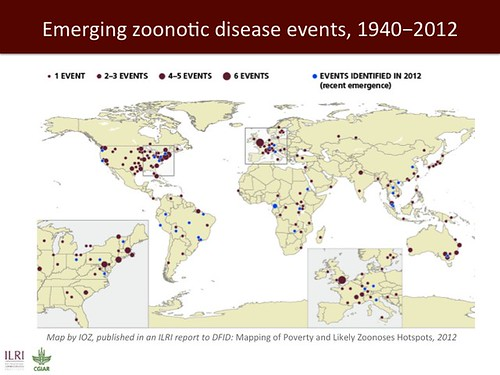 Emerging zoonotic disease events, 1940-2012