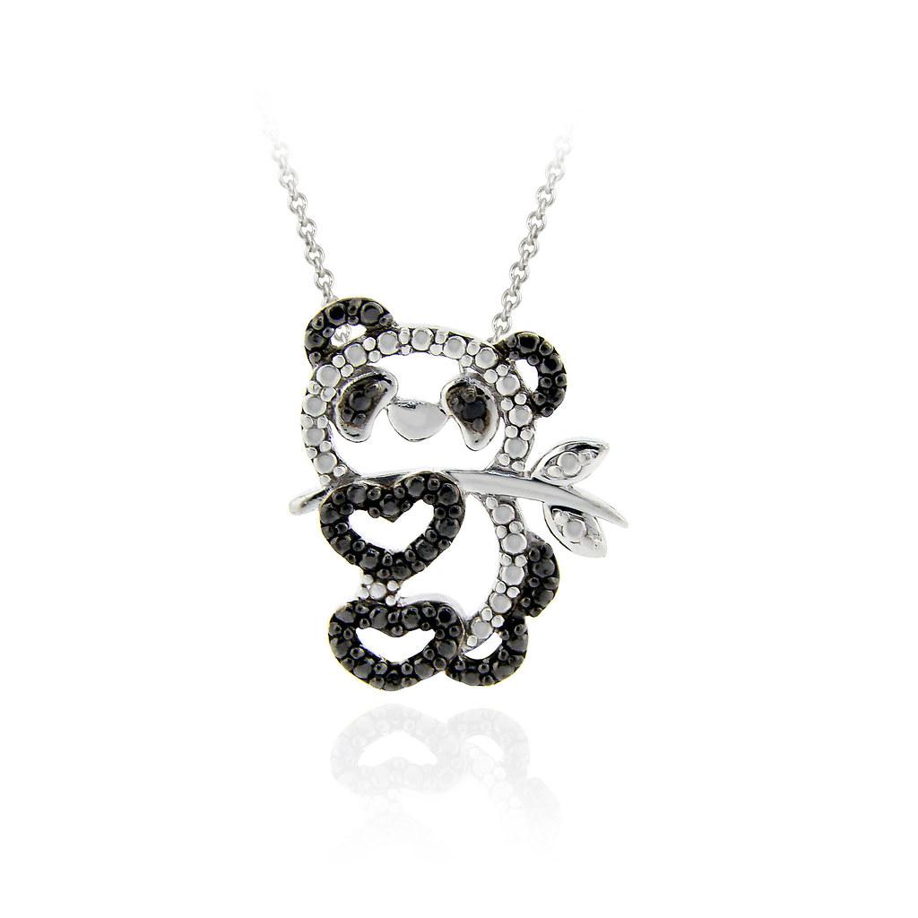 925 silver treated black diamond accent panda bear