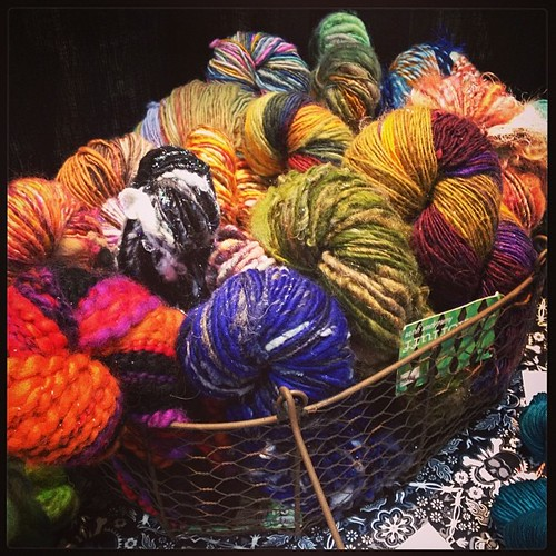 I have three baskets' worth of handspun for you to squeeze here at #StitchesEast!