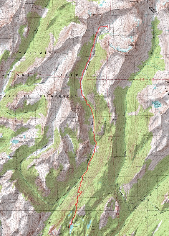 Topographic Map of our fourth day's hike - Miller Lake to upper Matterhorn Canyon