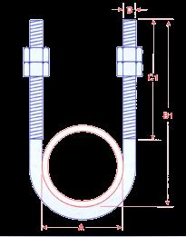 U Bolts Zinc Plated Extended Leg Image