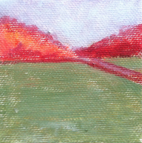 Red Trees and Green Field (Mini-Painting as of Jan. 25, 2014) by randubnick