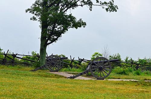 First Day July 1, 1863 ... Oak Ridge Cannons Pointing SE towards McPherson Ridge, Gettysburg, Pennsylvania USA