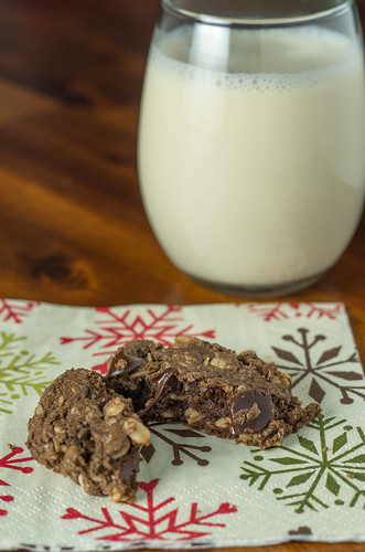 Double chocolate peanut butter oatmeal cookies