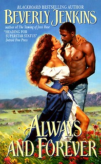 the cover for romance novel always and forever features a black man and woman in a field of flowers
