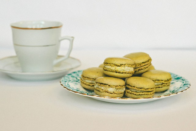 {pistachio macarons with lemon-cardamom cream} via chevrons & éclairs