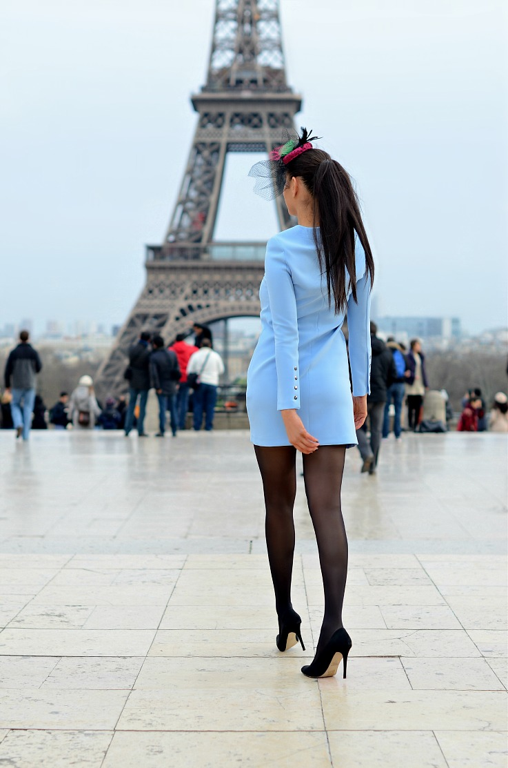 DSC_5910 Zara baby Blue Dress, Paris, Eiffeltower