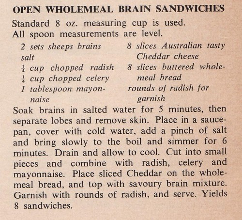 Brain sandwich recipe - From a 60s meat industry cookbook