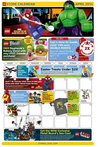 LEGO April 2014 Store Calendar
